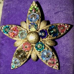 Stunning vintage starfish margarita crystal brooch